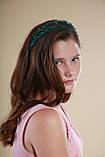 Зелений Обруч для волосся з кришталевими намистинами подвійний смарагдовий, фото 6