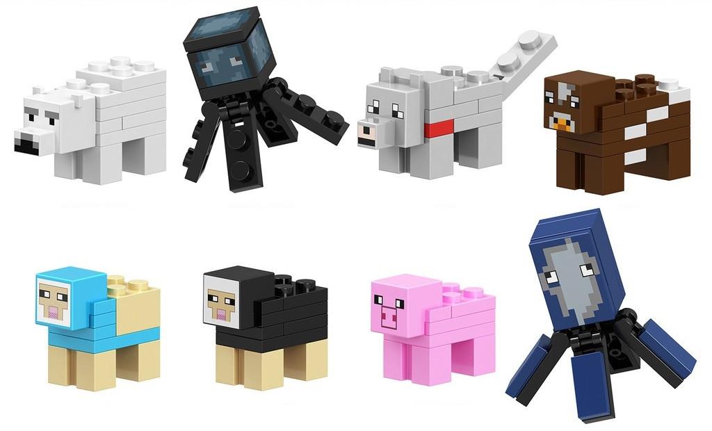 Конструктор Minecraft  майнкрафт медведь,рыба,волк,корова,овца,свинья