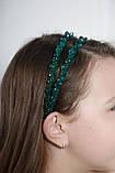 Зелений Обруч для волосся з кришталевими намистинами подвійний смарагдовий, фото 2
