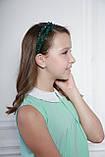 Зелений Обруч для волосся з кришталевими намистинами подвійний смарагдовий, фото 10