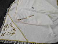 """Дитяча махрова крижма з ім'ям і капюшоном велсофт для дівчинки """"Ніка"""""""
