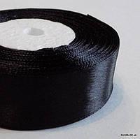 Лента атласная, 2.5 см, Цвет: Чёрный (5 метров/уп.)