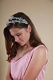 Білий подвійний обідок обруч для волосся з кришталевими намистинами Гілочка прикраса для нареченої весільну на голову, фото 3