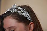 Білий подвійний обідок обруч для волосся з кришталевими намистинами Гілочка прикраса для нареченої весільну на голову, фото 2