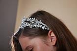 Белый двойной ободок обруч для волос с хрустальными бусинами Веточка украшение для невесты свадебное на голову, фото 4