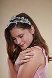 Білий подвійний обідок обруч для волосся з кришталевими намистинами Гілочка прикраса для нареченої весільну на голову, фото 6