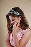 Білий подвійний обідок обруч для волосся з кришталевими намистинами Гілочка прикраса для нареченої весільну на голову, фото 7