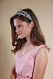 Белый двойной ободок обруч для волос с хрустальными бусинами Веточка украшение для невесты свадебное на голову, фото 9