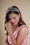 Белый двойной ободок обруч для волос с хрустальными бусинами Веточка украшение для невесты свадебное на голову, фото 7