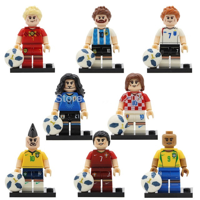 Фигурки лего Lego Роналдо,Месси,Неймар,Бекхэм,Де Брёйне,Модрич,Кавани