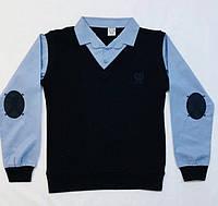 Рубашка жилет обманка с заплатками 5-14 лет синяя