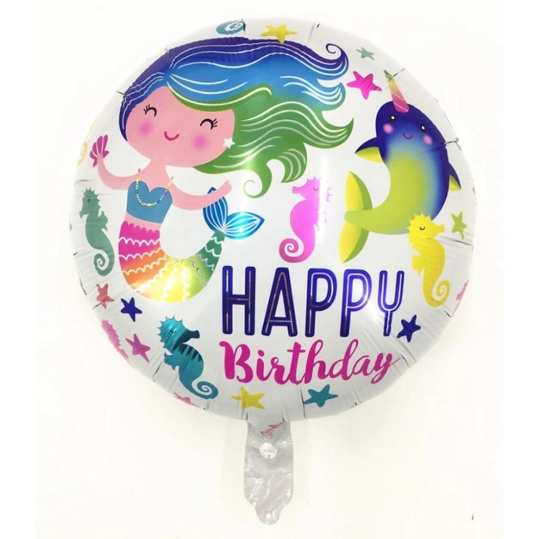 "Фольгированный шар ""Русалочка "" Happy Birthday , диаметр 45 см."