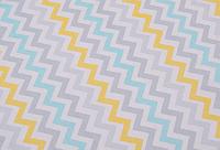 Сатин-твил Зигзаги желто-голубые пастель
