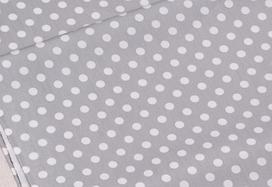 Сатин-твил Горошки белые на сером 8 мм