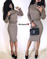 Женский костюм вязка (укороченная кофта и юбка карандаш) ( Цвет капучино, молоко, красный, черный, бордо), фото 1