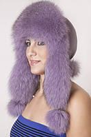Женская Шапка-Ушанка из меха песца и кожи UМ26 Светлый фиолет