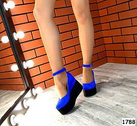 Туфли замшевые на платформе с ремешком, синие