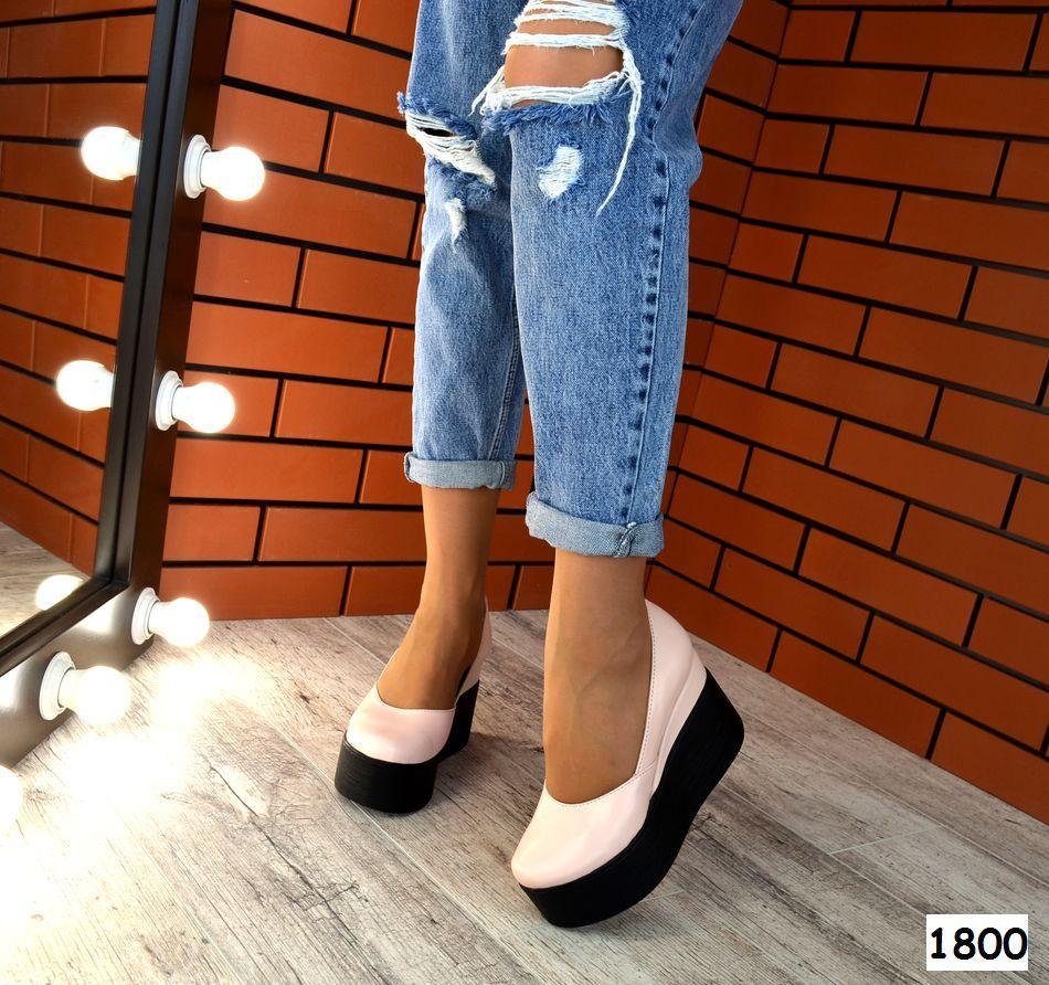 Туфли кожаные на платформе классика