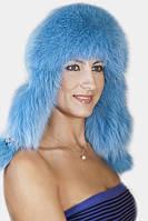 Женская Шапка-Ушанка из меха песца и кожи UМ26 Голубой