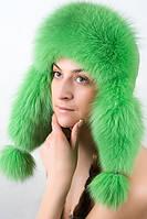 Женская Шапка-Ушанка из меха песца и кожи UМ26  Зеленый