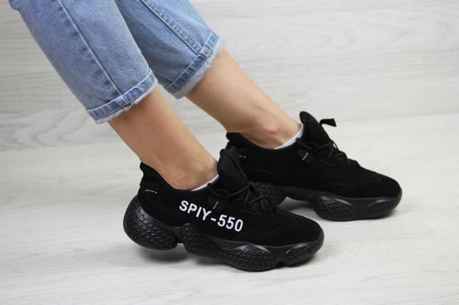 Женские кроссовки черные текстильные простые и удобные, фото 2