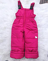 Зимние штанишки-полукомбинезон со светооражательным рисунком Фуксия