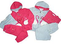 Трикотажный костюм-тройка для девочек, размеры 3/4, 4/5, 5/6, 6/7 лет, F&D, арт. YF 8166
