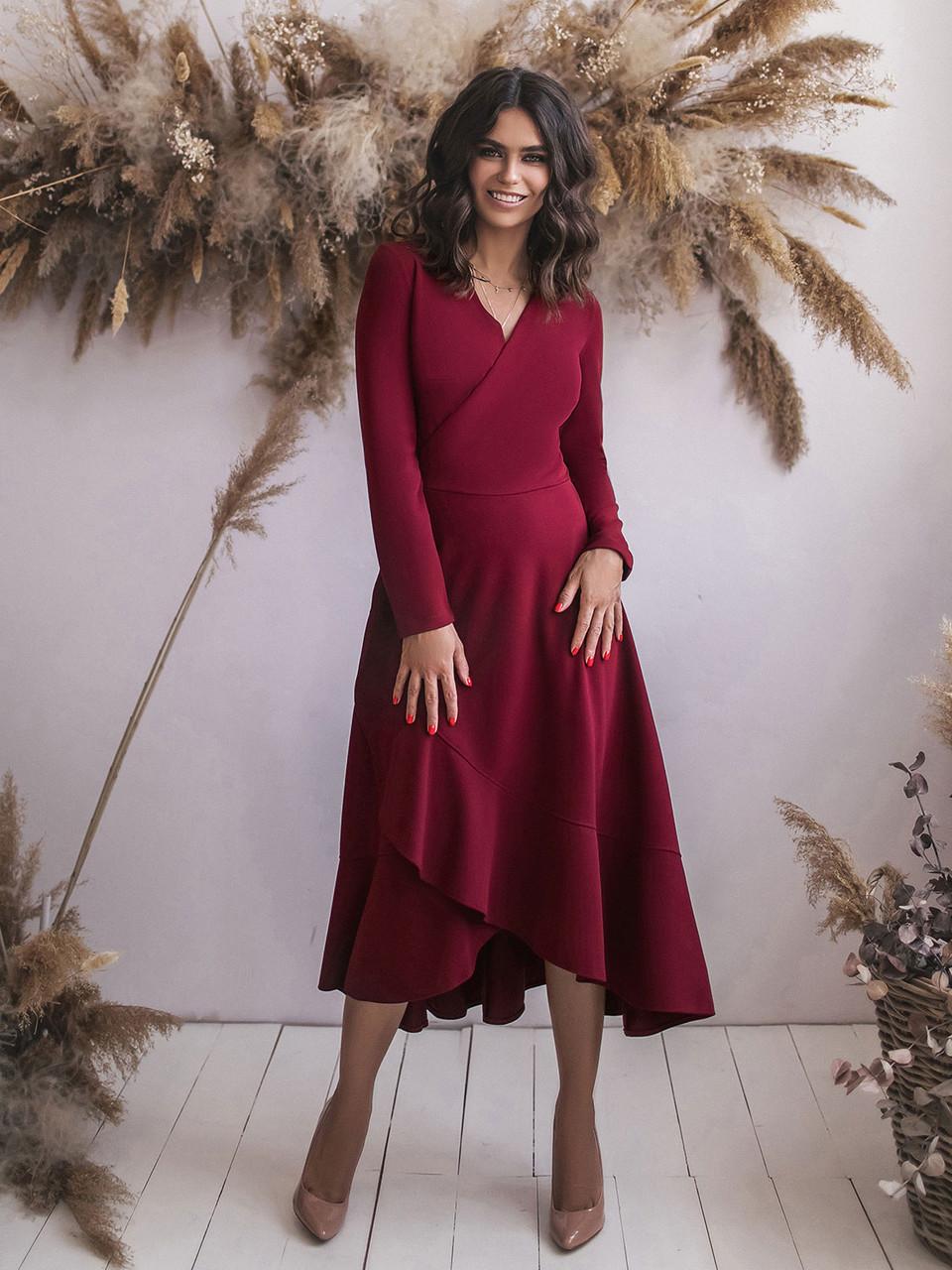 Бордовое трикотажное Платье с запахом