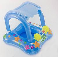 Надувная лодочка Intex 56581, с трусиками, навесом, 81*66 см, голубой