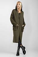 Теплый женский кардиган с капюшоном цвета хаки, фото 1