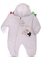 Зимний комбинезон для новорожденных Мишка белый