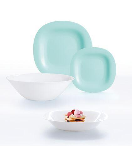 Carine Light Turquoise & White Сервиз столовый 19 пр Luminarc P7627