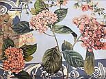 Платок шелковый (крепдешин) 10124-13, павлопосадский платок (крепдешин) шелковый с подрубкой, фото 3
