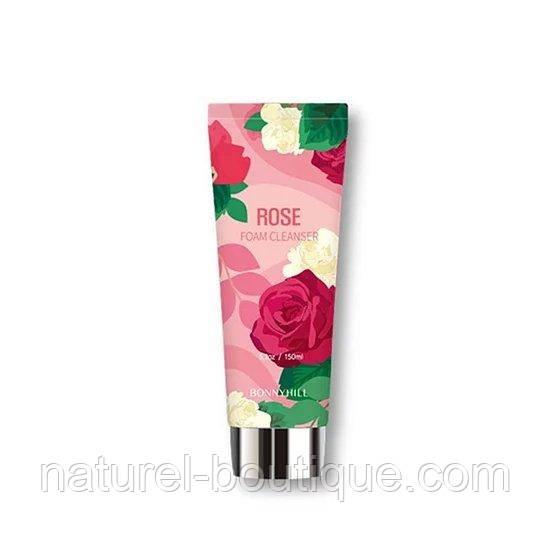 Очищающая пенка Bonnyhill с экстрактом розы  Flower Cleansing Foam Rose