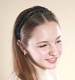 Черный двойной Обруч для волос с хрустальными бусинами, фото 3