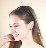 Черный двойной Обруч для волос с хрустальными бусинами, фото 4