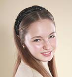 Черный двойной Обруч для волос с хрустальными бусинами, фото 7