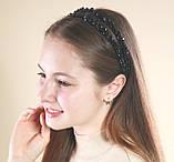 Черный двойной Обруч для волос с хрустальными бусинами, фото 6