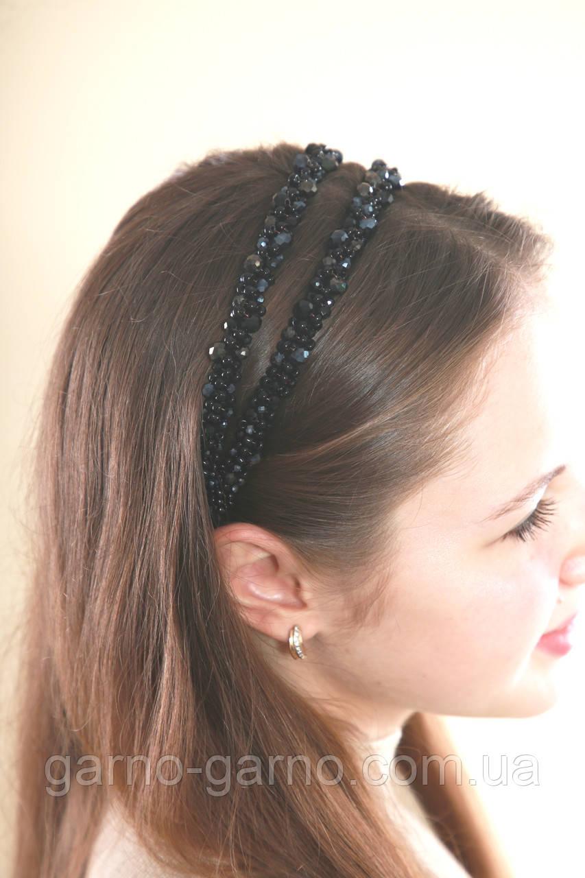 Черный двойной Обруч для волос с хрустальными бусинами