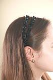 Черный двойной Обруч для волос с хрустальными бусинами, фото 8