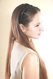 Черный двойной Обруч для волос с хрустальными бусинами, фото 9
