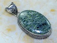 Крупный серебряный кулон  с  крокодиловой яшмой камамба, фото 1