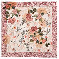 Платок шелковый (крепдешин) 10124-6, павлопосадский платок (крепдешин) шелковый с подрубкой