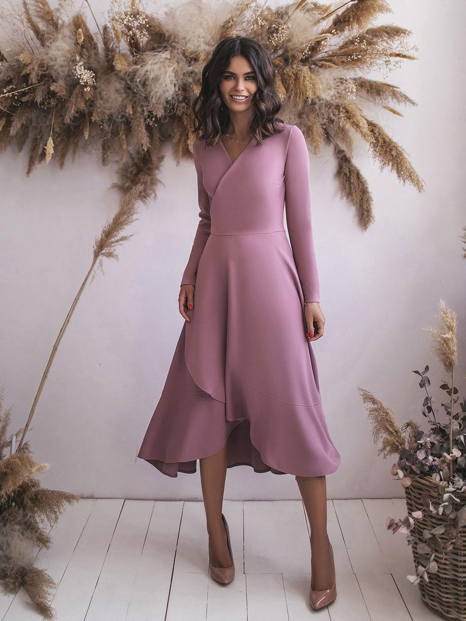 Лиловое трикотажное Платье с запахом