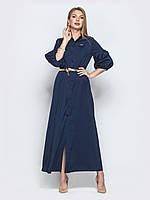 Синее длинное платье из мягкого софта 44 46 48