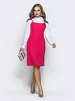 Розовый  сарафан приталенного силуэта из льна. 42 44 46 48+