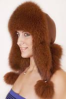 Женская Шапка-Ушанка из меха песца и кожи UМ26 Светло-коричневый
