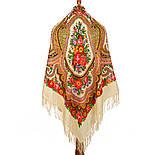 Любава 1289-1, павлопосадский платок шерстяной  с шерстяной бахромой, фото 2