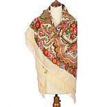 Любава 1289-1, павлопосадский платок шерстяной  с шерстяной бахромой, фото 3