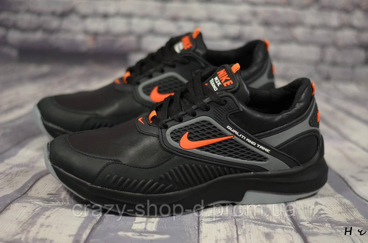 Мужские кожаные кроссовки Nike (Реплика) (Код: H ч  ) ►Размеры [40,41,42,43,44,45]
